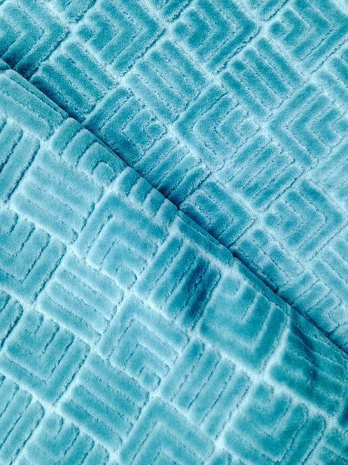 Coupon de velours gaufré à motifs géométriques, 40 x 109 cm