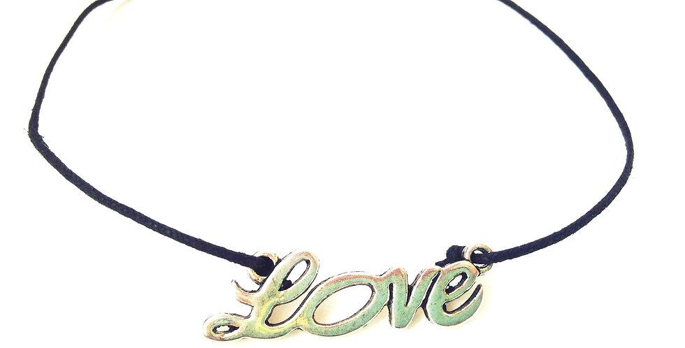 Collier ou bracelet à nouer LOVE, cordon coton ciré noir