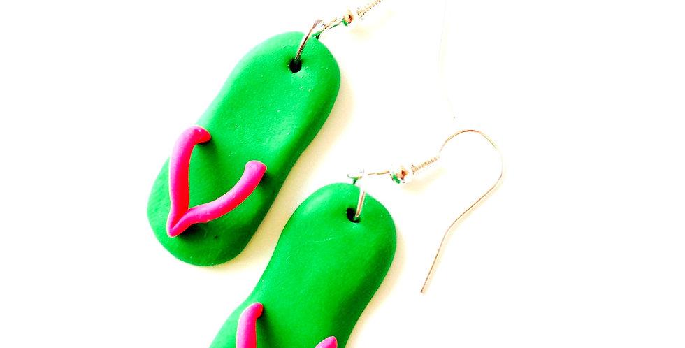 Boucles d'oreilles LES TONGUETTES vert, rose