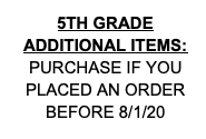 5th Grade Additional Items (purchase if you previously ordered your pack)!