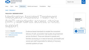 New Medication Assisted Treatment (MAT) Standards from Scottish Government