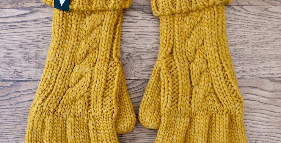 Mustard Cable Knit Gloves