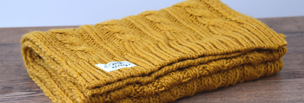 Mustard Cable Knit Scarf