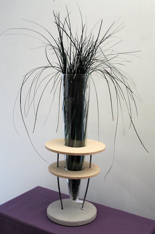 Vaso Vetro/Legno con base in pietra