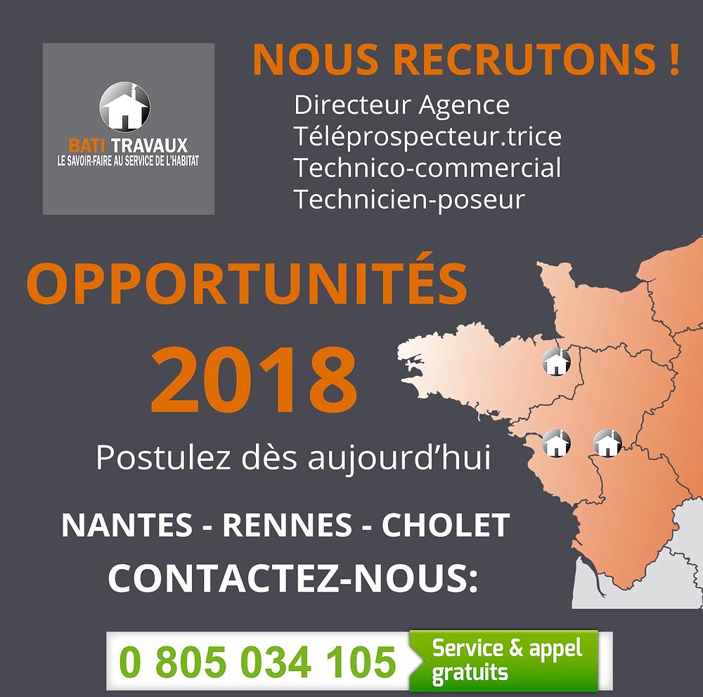 Recrutement secteur ouest Cholet Nantes Rennes