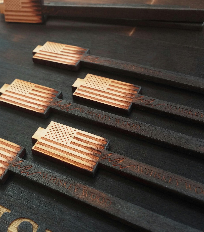American Flag Whiskey Wood Stirrer