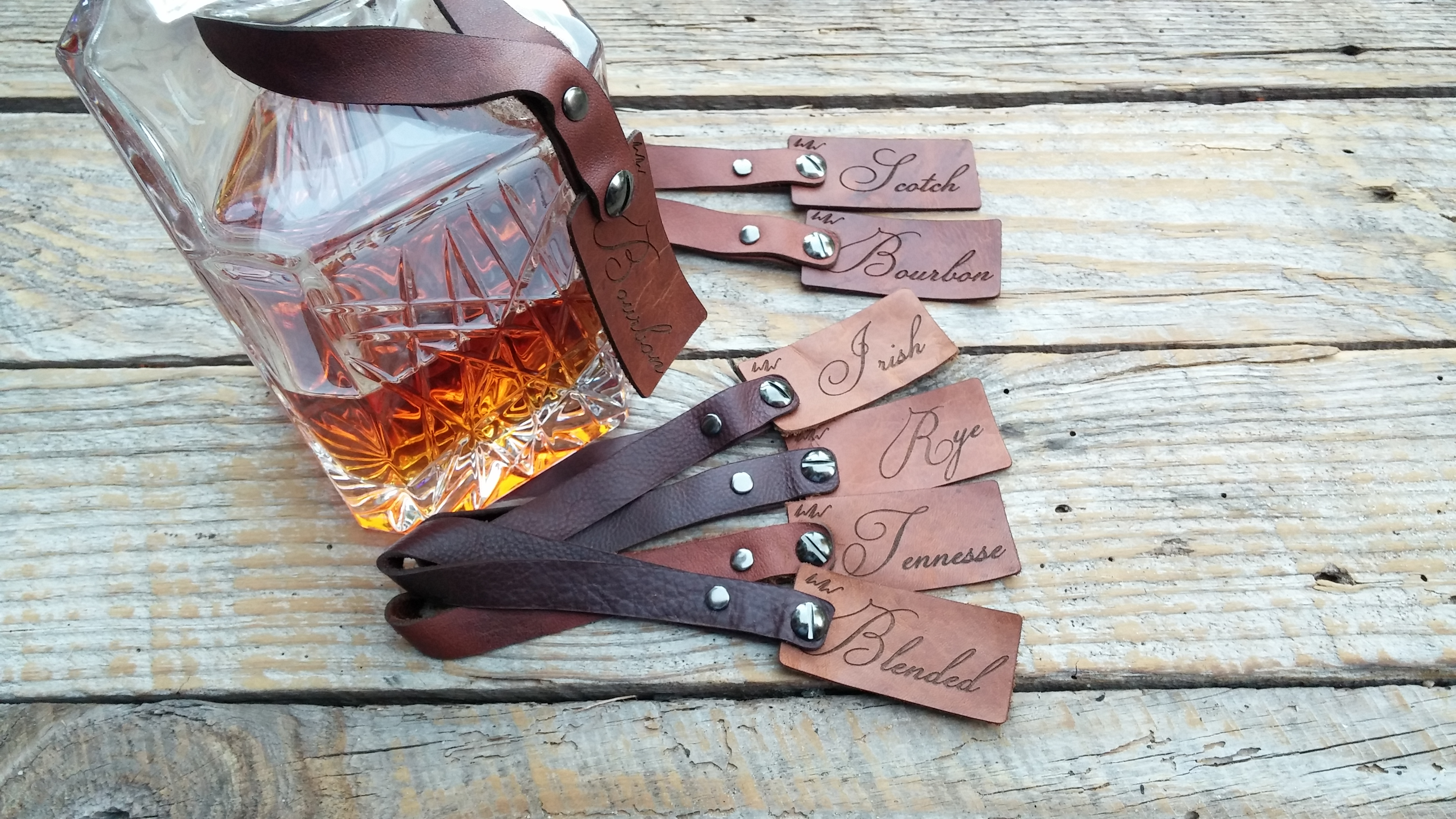 Whiskey Wood Decanter Tags