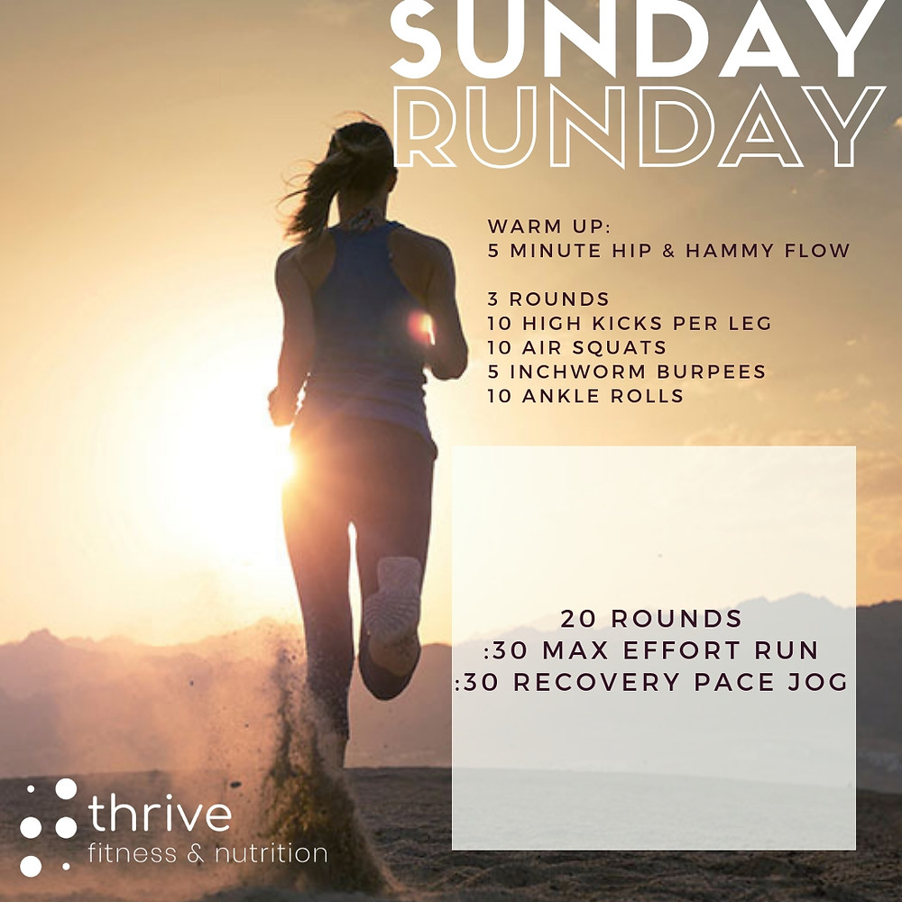 20 rounds, :30 max effort run / :30 recovery pace jog