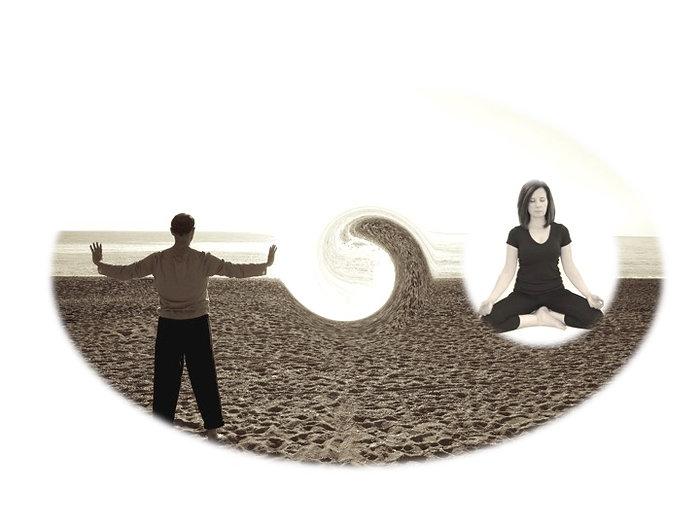 Vi skapar en känsla av retreat, som ju betyder att dra sig tillbaka, med både rörelse och stillhet. Vi utövar qi gong, meditation, andning och avslappning, verktyg som har använts i tusentals år för att bana vägen för en upptäcktsfärd i vårt inre.