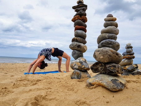 Some yoga fun on the beach