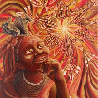 Himba - Rêve de l'Aborigène 2017 - 65 x 54cm Acrylique sur toile