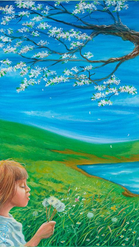 Au fil des saisons 1/4 Printemps - 2019 - 33 x 24cm acrylique sur toile