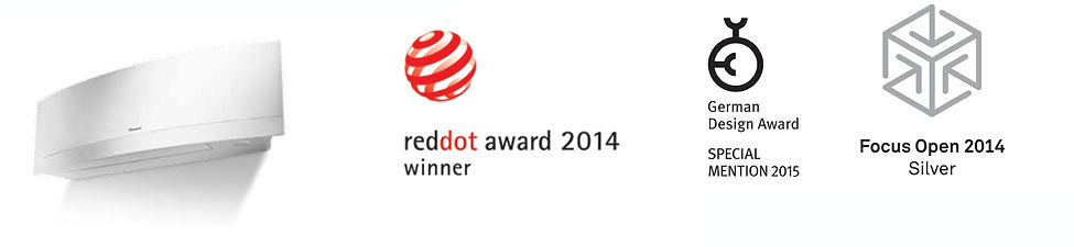 Daikin Europe N.V. is proud to announce that Daikin Emura has been awarded with Reddot design award 2014 , German Design Award - Special mention 2015, Focus Open 2014 Silver and Good Design Award 2014. Daikin Emura was evaluated by an international jury that awards this seal of quality only to products that stand out thanks to its excellent design.
