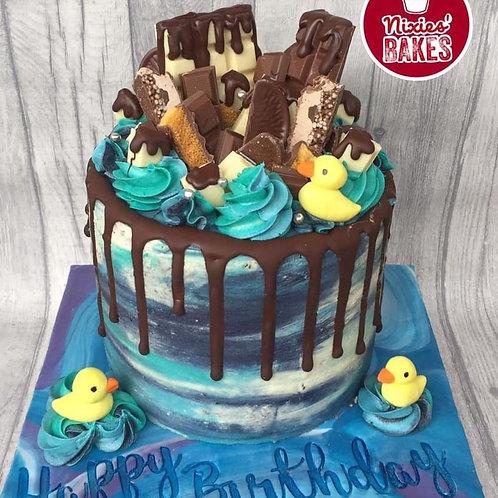 Blue Water Colour Drip Cake