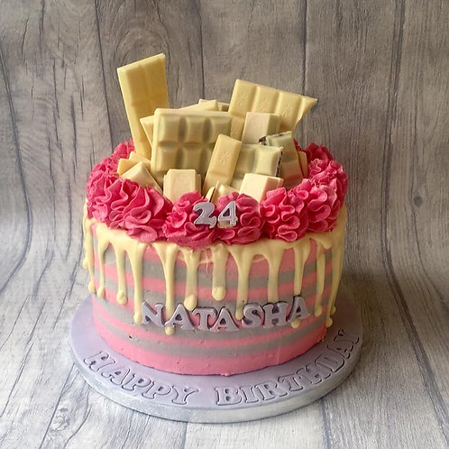 Pink & White Choc Drip Cake