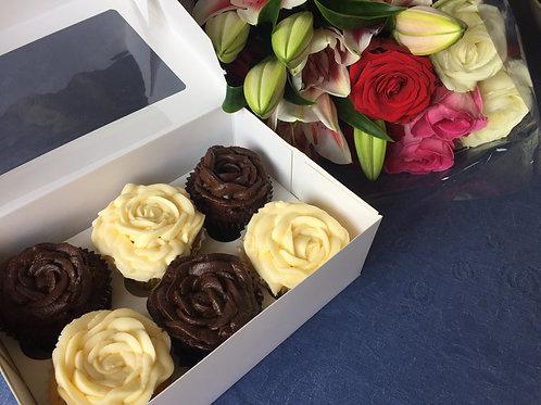 Vanilla & Chocolate Rose Cupcakes