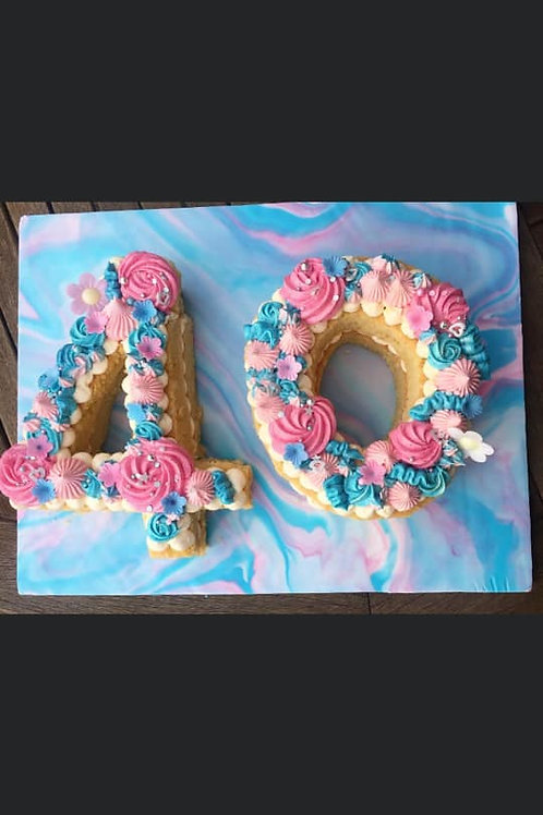 Blue & Pink Number Cake