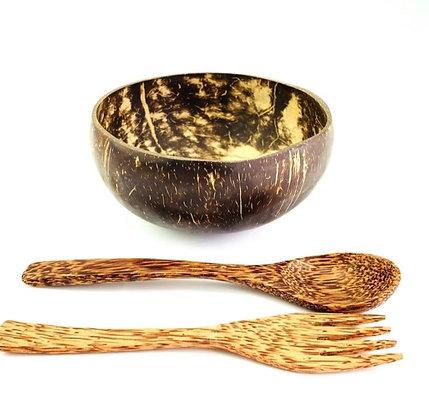Cuenco y cuchara de coco natural