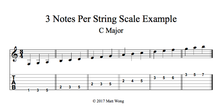 C Major | 3 Note Per String Example | Guitar