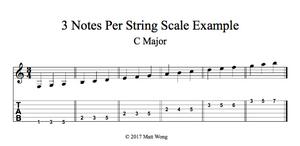 C Major | 3 Note Per String Example | Guitar