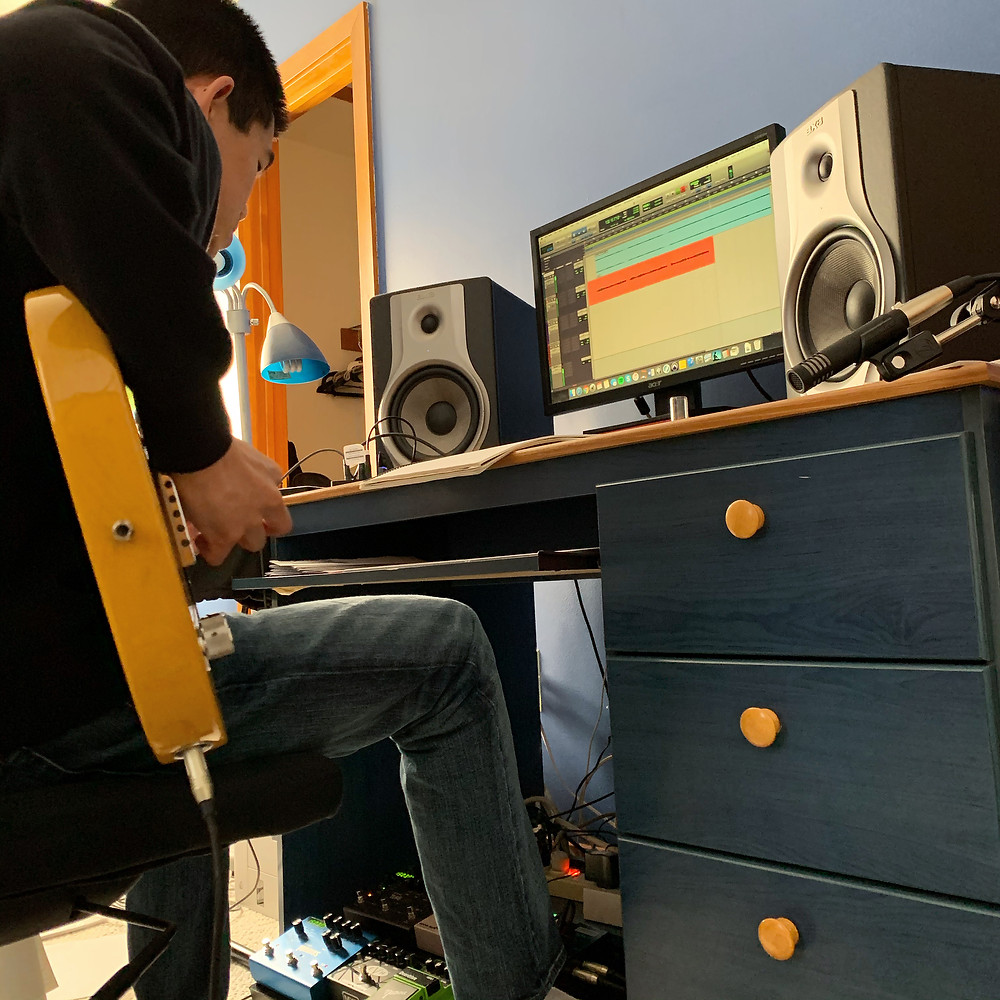 Session guitarist Matt Wong working on a remote recording session