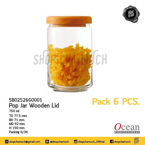 ขวดโหล POP JAR WOODEN LID 750 ml Pack 6 Ocean 6B02526G0001