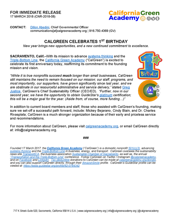CalGreen Celebrates 1st Birthday!