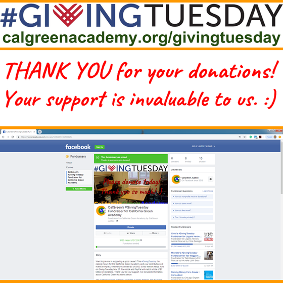 CalGreen Thanks our #GivingTuesday Supporters