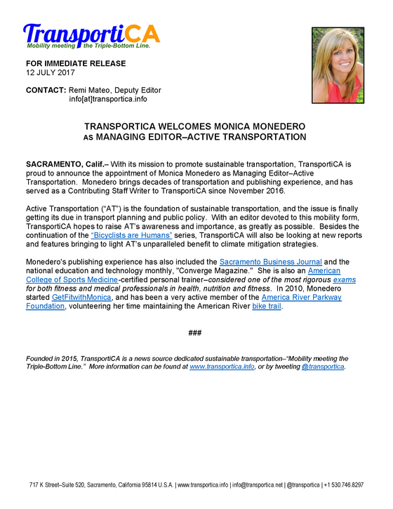 "TransportiCA Welcomes Monica Monedero as ""Managing Editor - Active Transportation"""