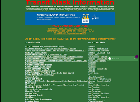 """CalGreen Launches the """"Transit Mask Information"""" Webpage"""