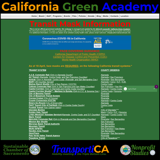 "CalGreen Launches the ""Transit Mask Information"" Webpage"