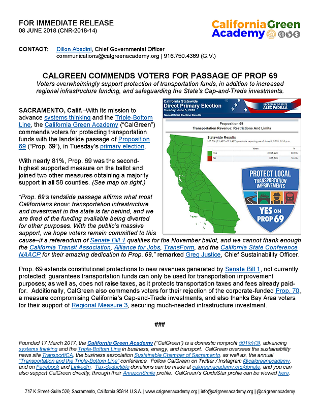 CalGreen Commends Voters for Passage of Prop  69