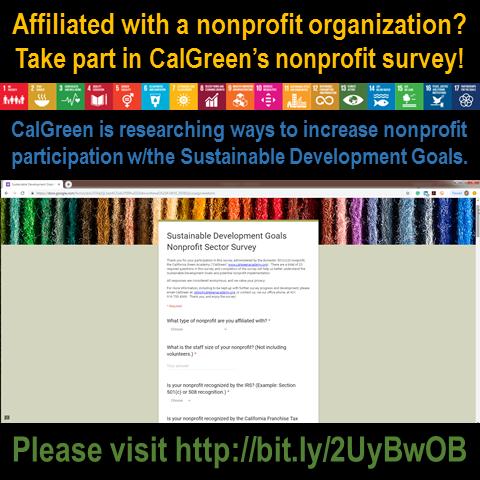 CalGreen Launches Nonprofit Sector UN-SDG Survey*