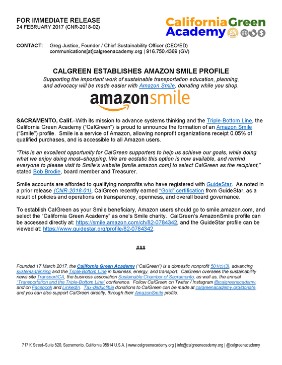 CalGreen Establishes Amazon Smile Account
