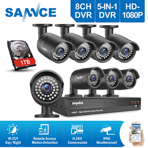 SANNCE 5in1 1080P HDMI 8CH DVR WITH 8 CAMERAS SET