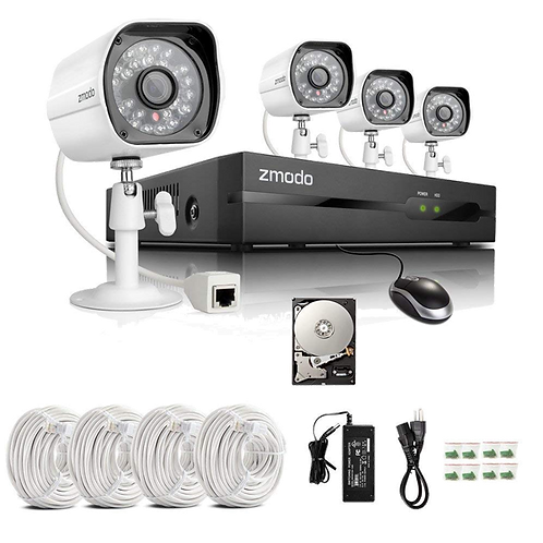 ZMODO 4CH 720P HD PoE NVR Camera System with 4 x 720P HD Indoor/ Outdoor