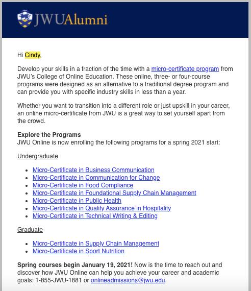 Alumni email blast
