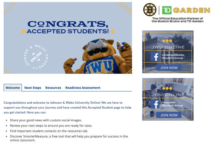 Accepted student landing page