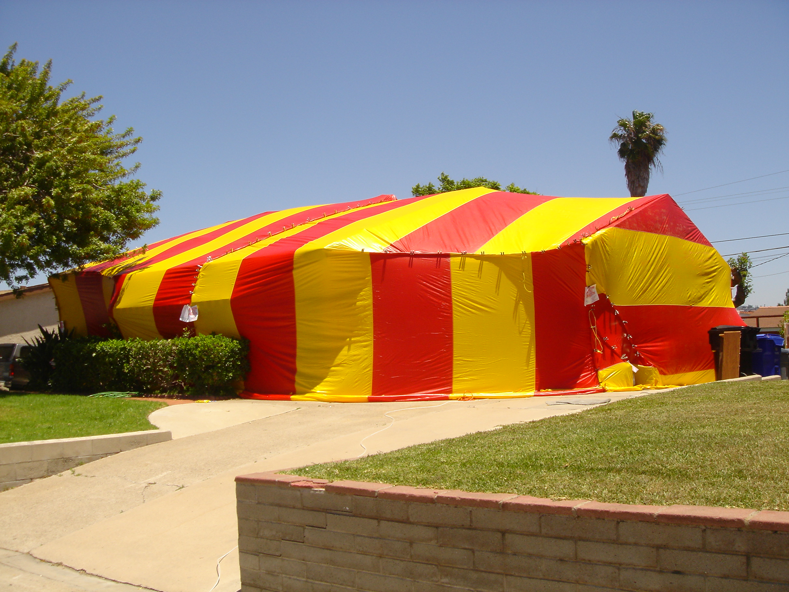 house being fumigated red and yellow