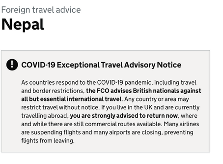 UK GOV Travel Advisory