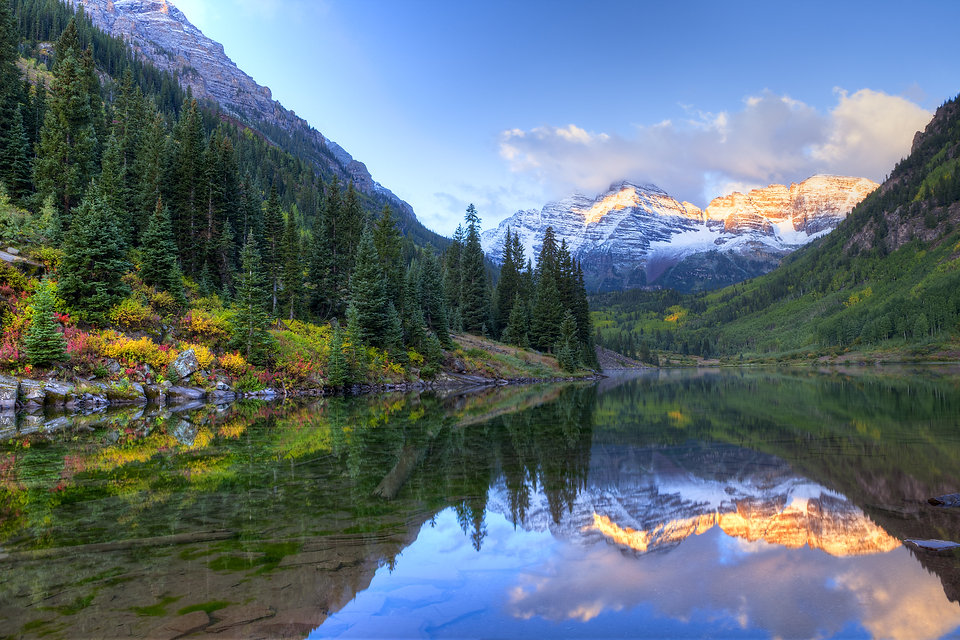 Reflection of Snow capped Maroon Bells i