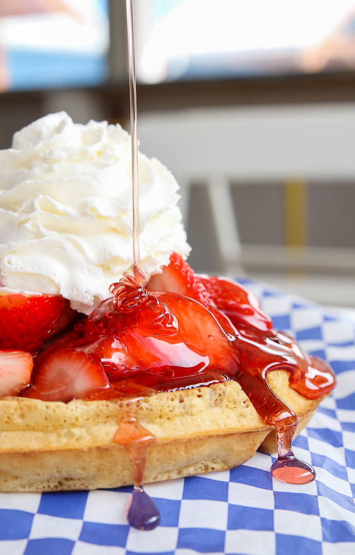 waffle beauty shots fresh strawberries (