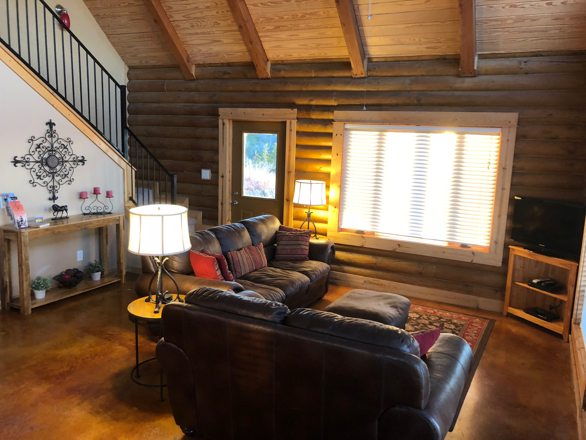 The Log Home living room
