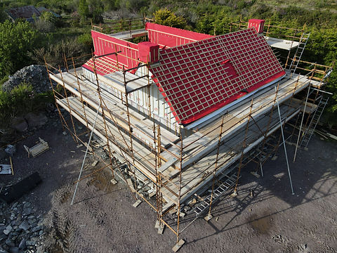 Construction of house drone photo