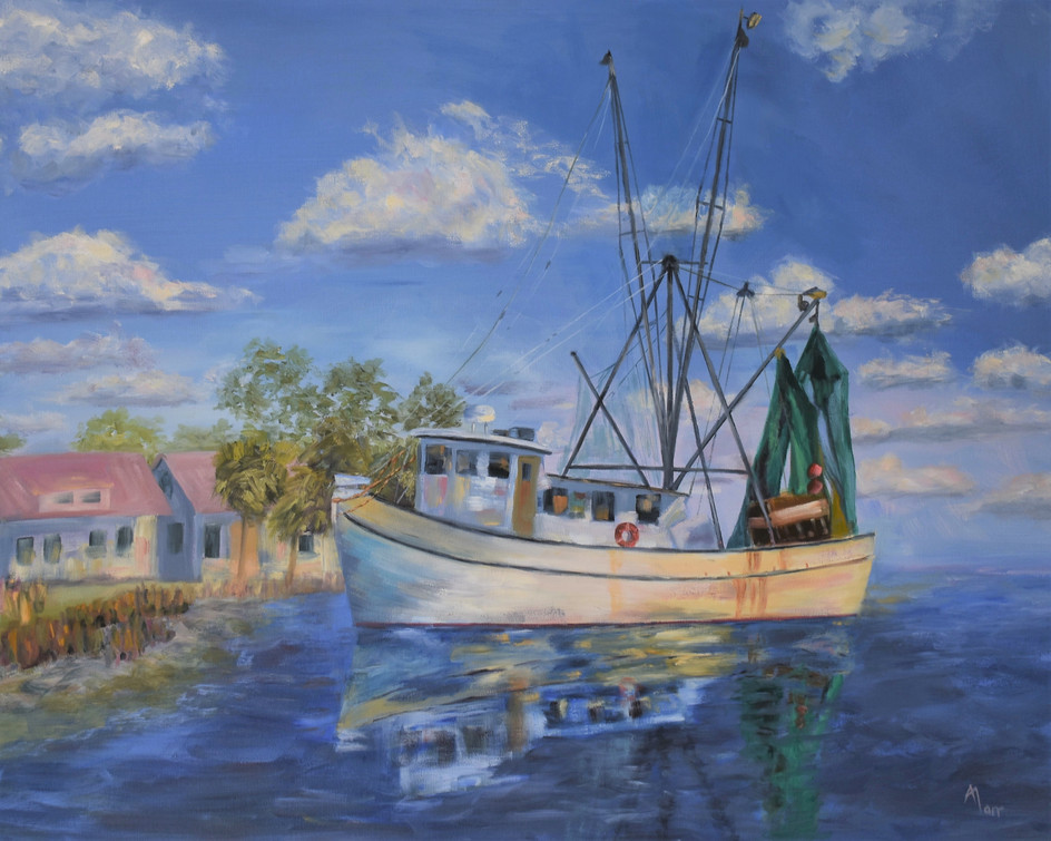 Stormy Seas Fishing Boat 8 x 10 lighter.