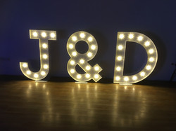 bride & groom light up initials