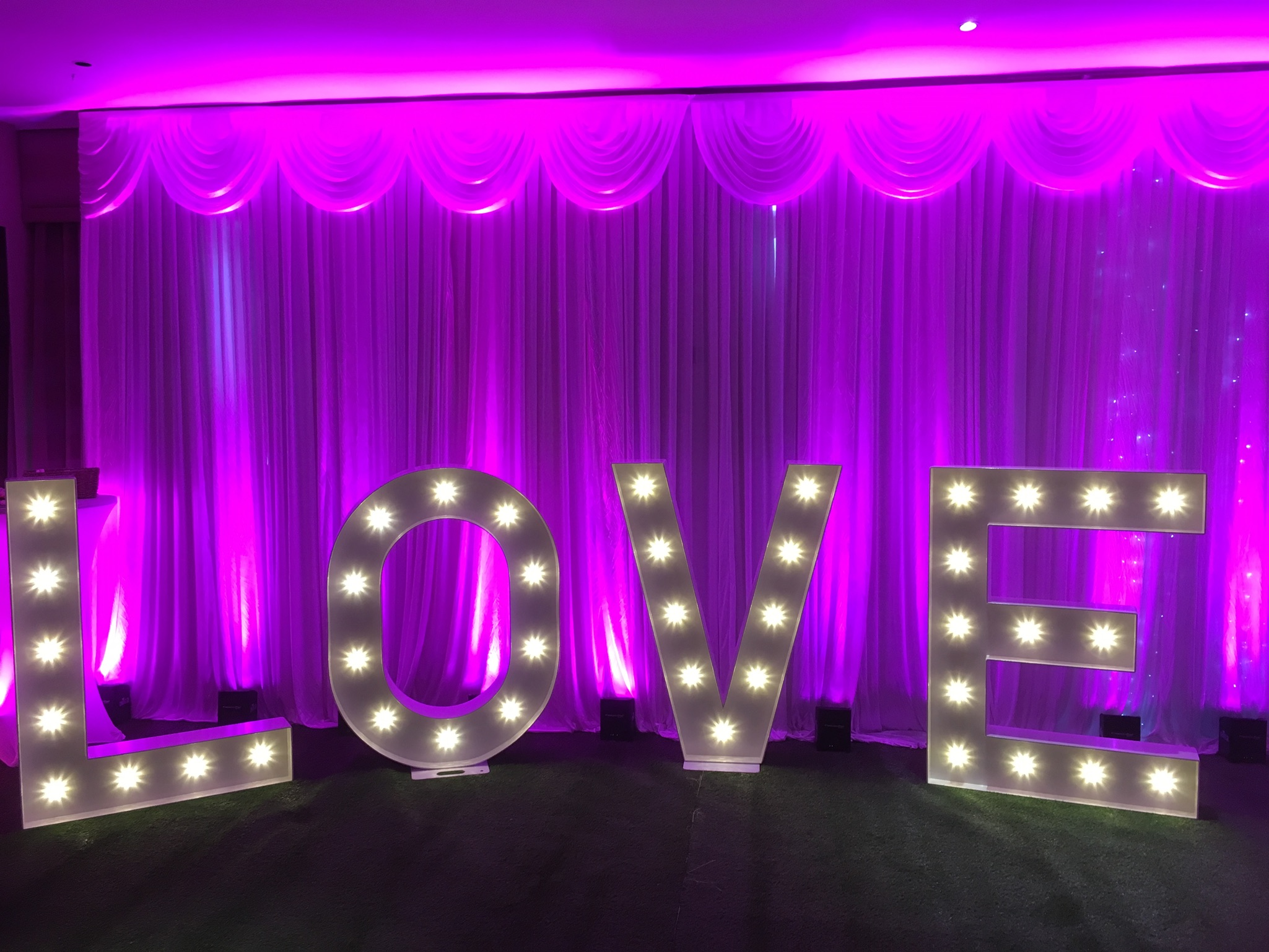 light up wedding backdrop