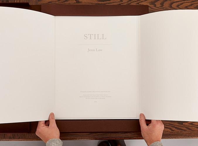 Still installation (artist's book, colophon), 2018
