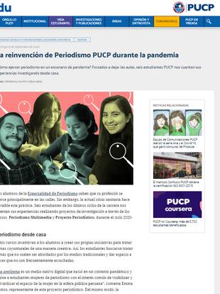 2020/9/13 | Reportaje en PuntoEdu - PUCP