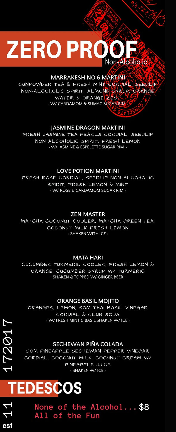 Zero Proof Cocktail Menu